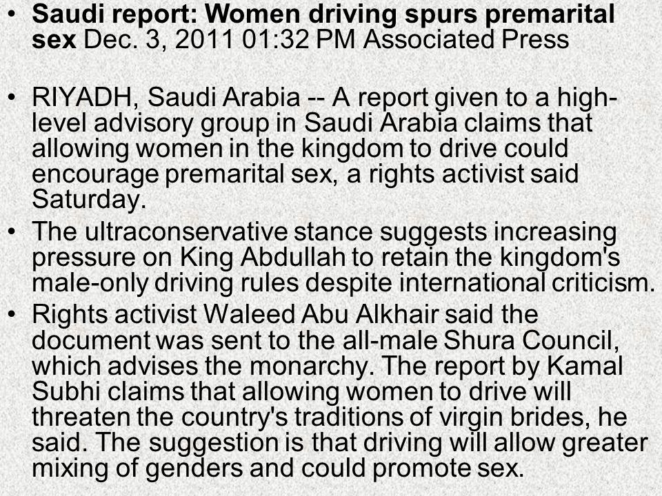 Saudi report: Women driving spurs premarital sex Dec