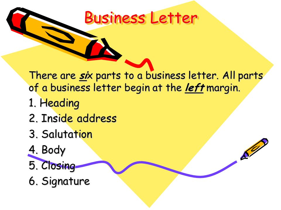 Business Letter 1. Heading 2. Inside Address 3. Salutation 4. Body