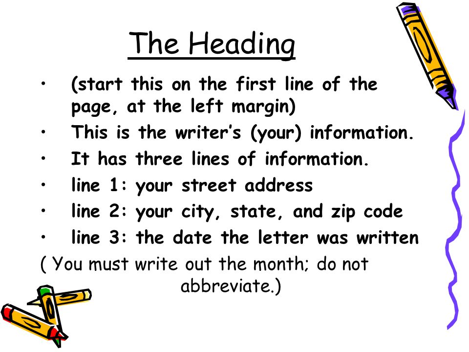 The Heading (start this on the first line of the page, at the left margin) This is the writer's (your) information.
