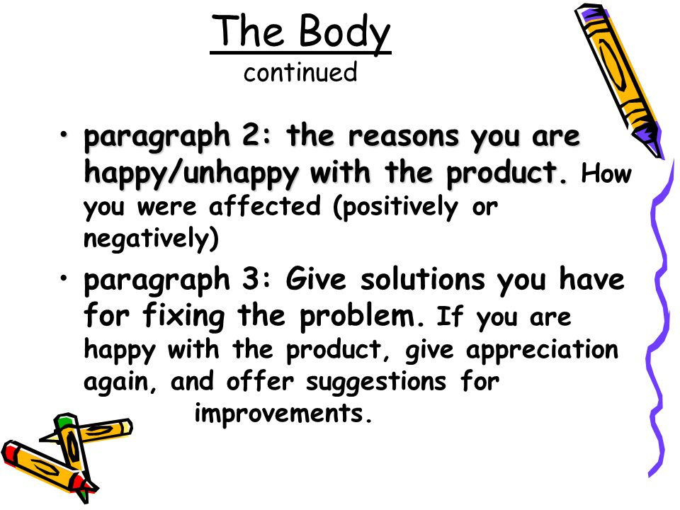 The Body continued paragraph 2: the reasons you are happy/unhappy with the product. How you were affected (positively or negatively)