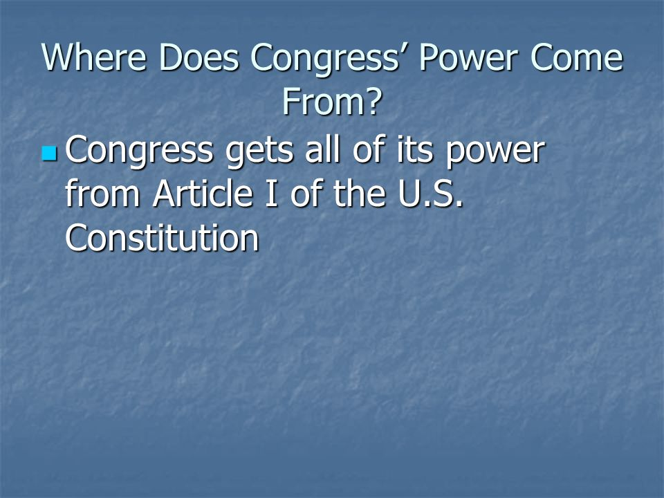 Where Does Congress' Power Come From