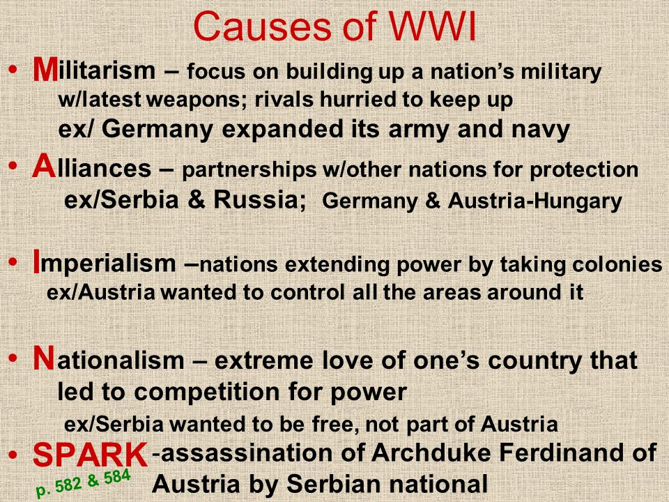 Causes of WWI M A I N SPARK