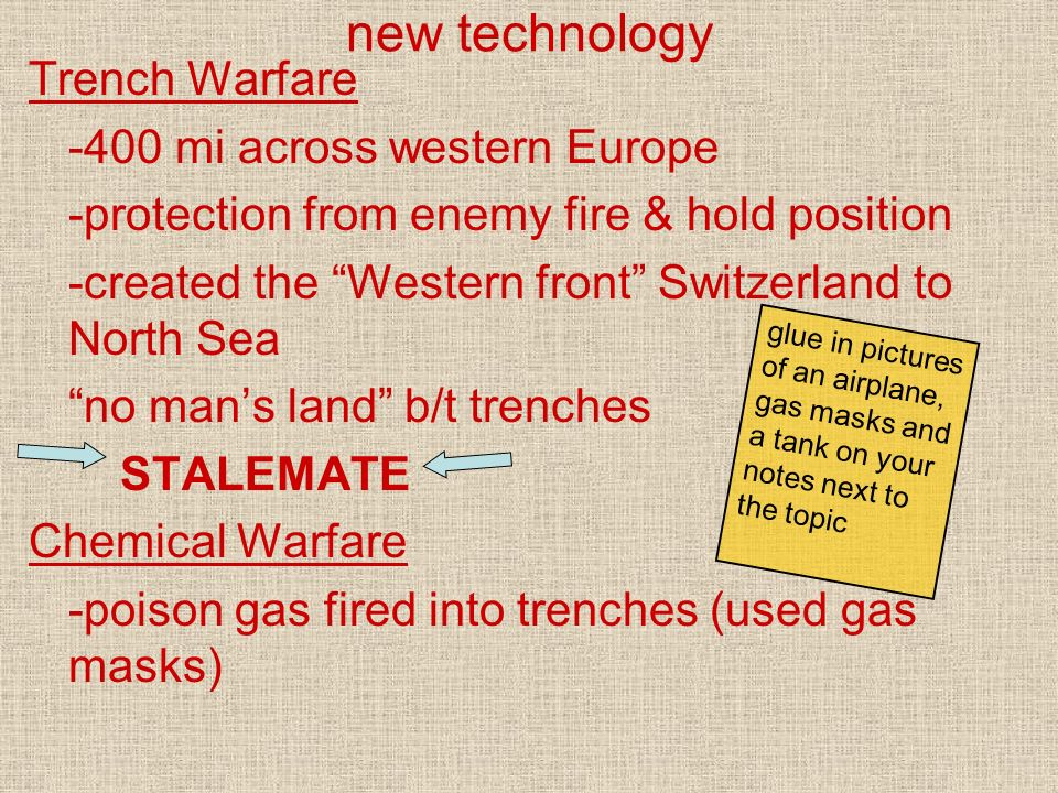 new technology Trench Warfare -400 mi across western Europe