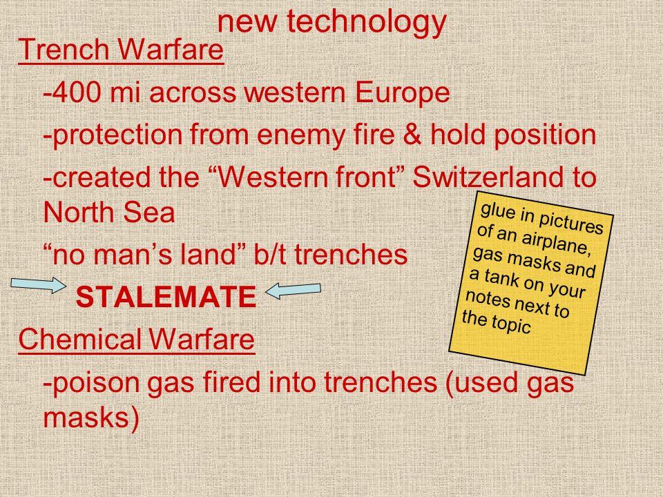 new technology Trench Warfare -400 mi across western Europe