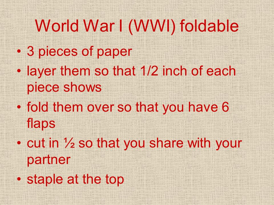 World War I (WWI) foldable