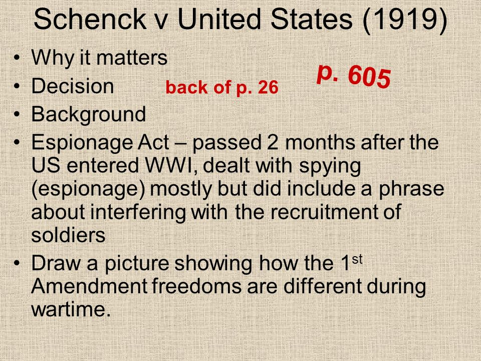 schenck v united states A summary and case brief of schenck v united states, including the facts, issue, rule of law, holding and reasoning, key terms, and concurrences and dissents.