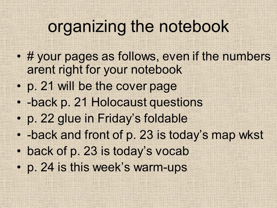 organizing the notebook