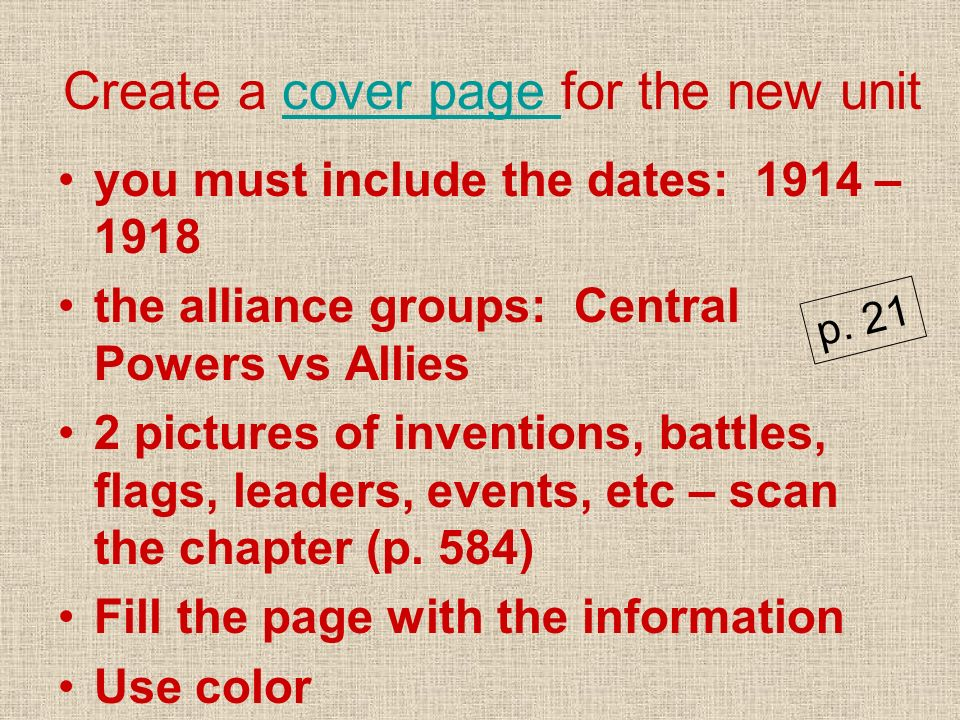 Create a cover page for the new unit