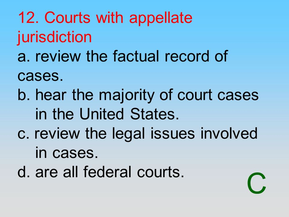 12. Courts with appellate jurisdiction a