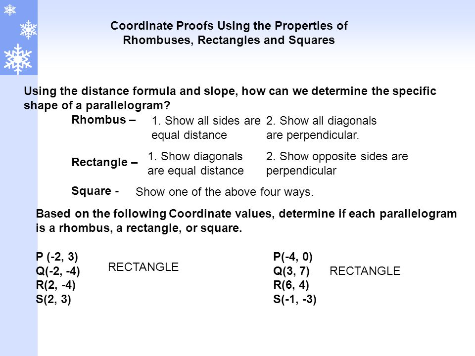 Coordinate Proofs Using the Properties of Rhombuses, Rectangles and Squares