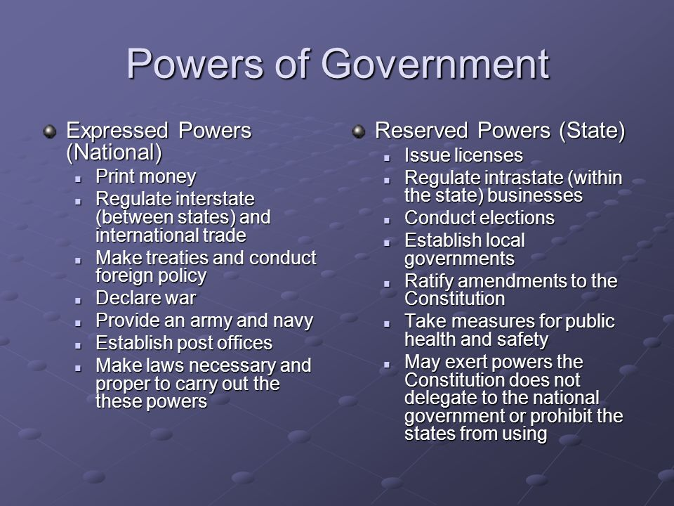 Powers of Government Expressed Powers (National)