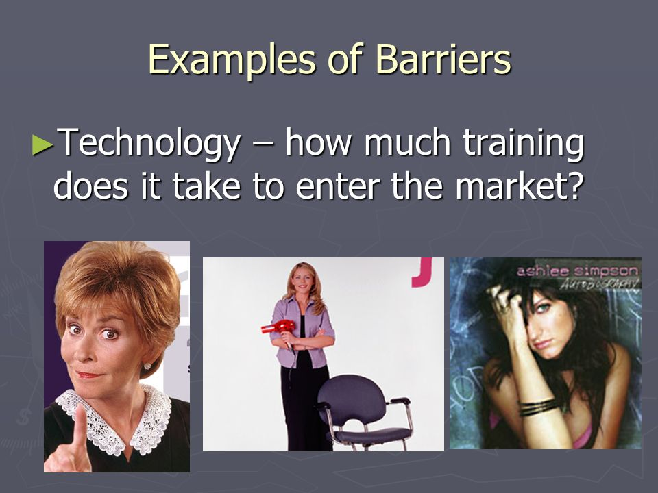 Examples of Barriers Technology – how much training does it take to enter the market