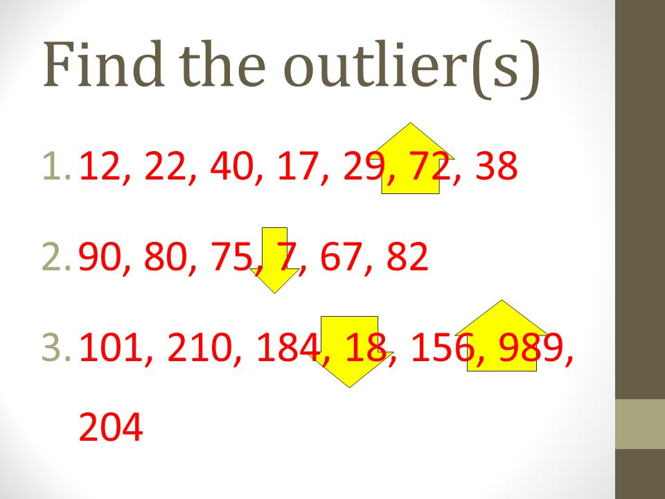 Find the outlier(s) 12, 22, 40, 17, 29, 72, 38. 90, 80, 75, 7, 67, 82.