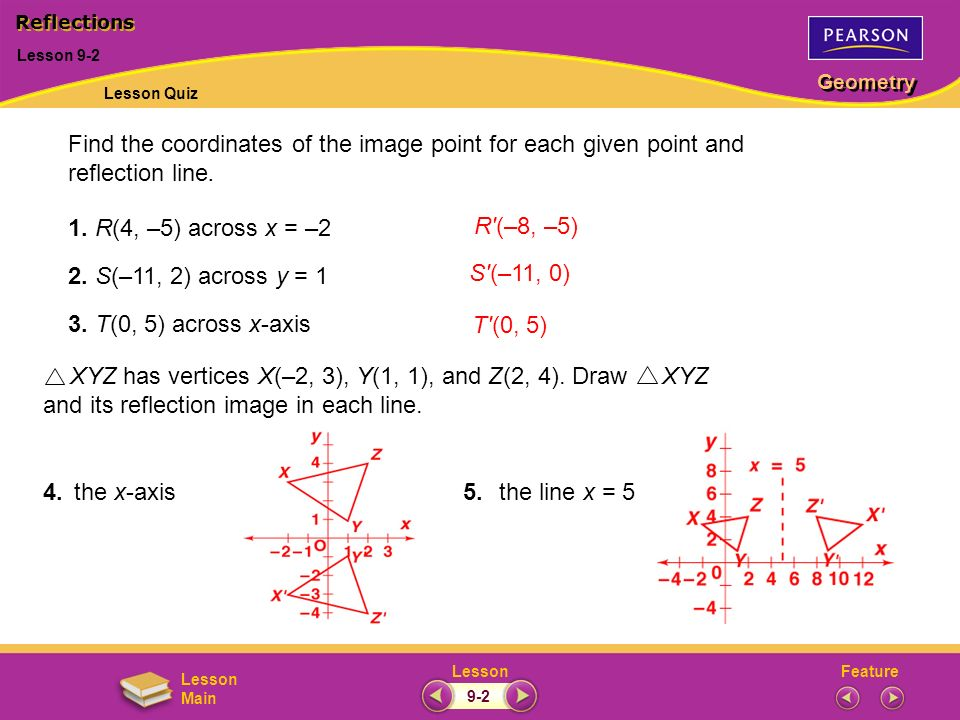 Find the coordinates of the image point for each given point and