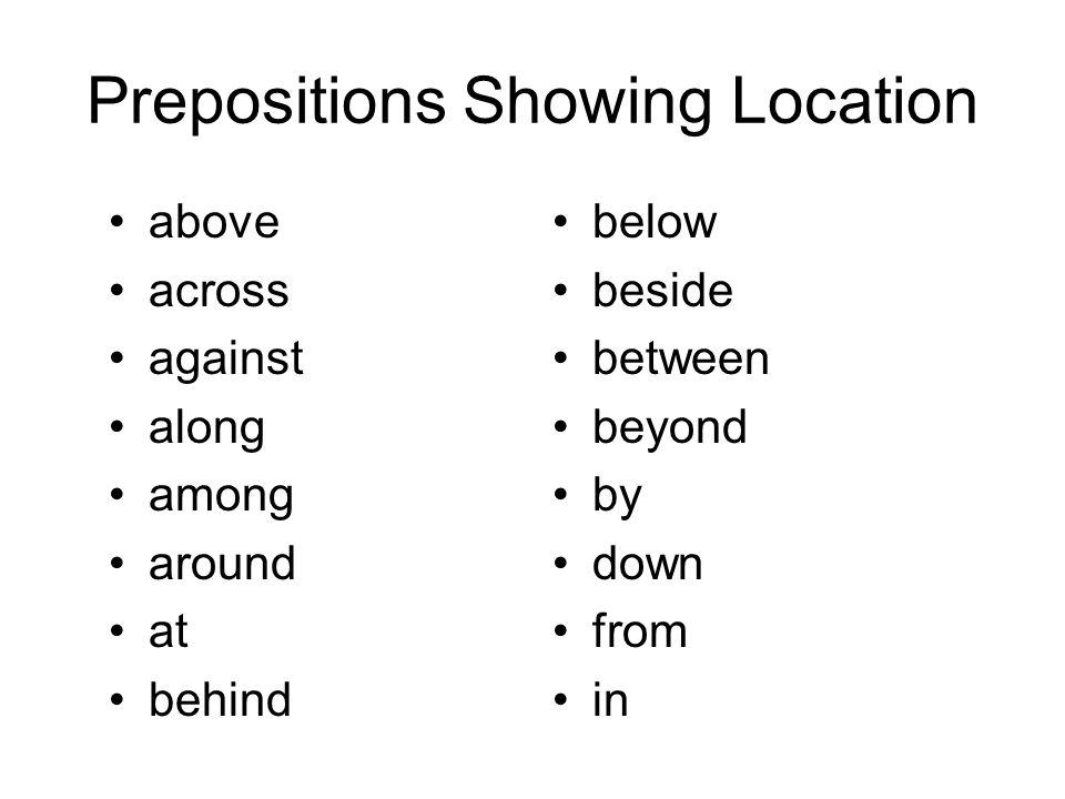 Prepositions Showing Location