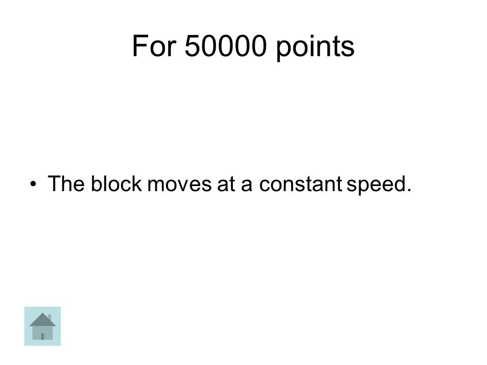 For 50000 points The block moves at a constant speed.