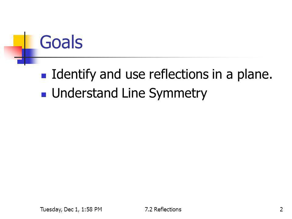 Goals Identify and use reflections in a plane.
