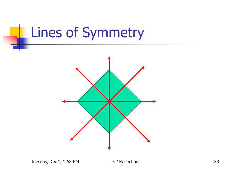 Lines of Symmetry Tuesday, Dec 1, 1:58 PM 7.2 Reflections