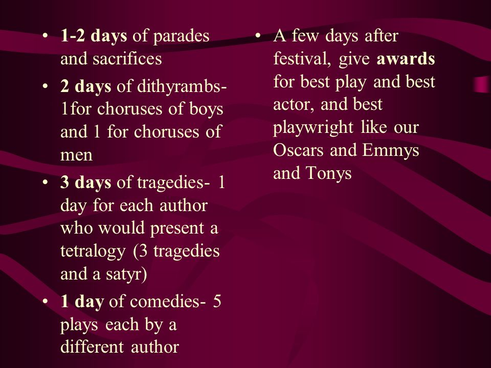 1-2 days of parades and sacrifices