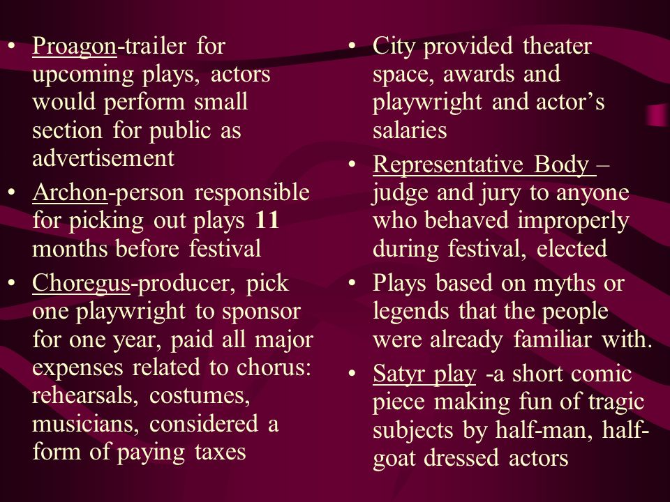 Proagon-trailer for upcoming plays, actors would perform small section for public as advertisement