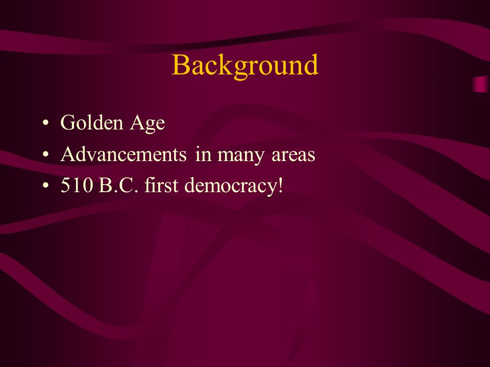 Background Golden Age Advancements in many areas