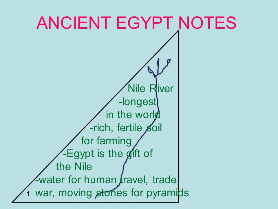 ANCIENT EGYPT NOTES Nile River -longest in the world