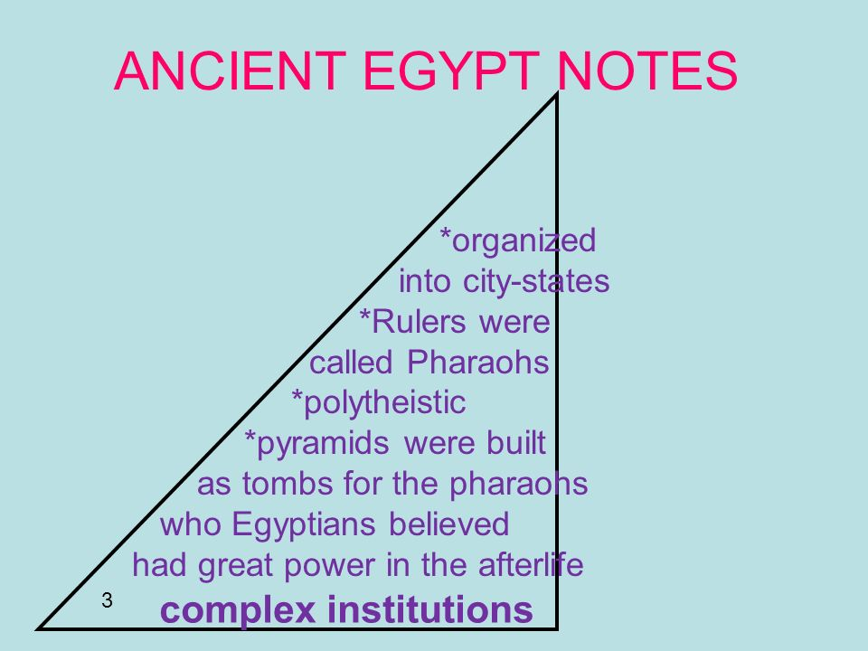 ANCIENT EGYPT NOTES complex institutions *organized into city-states