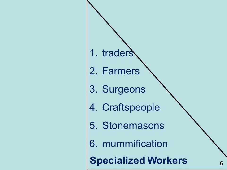 traders Farmers Surgeons Craftspeople Stonemasons mummification