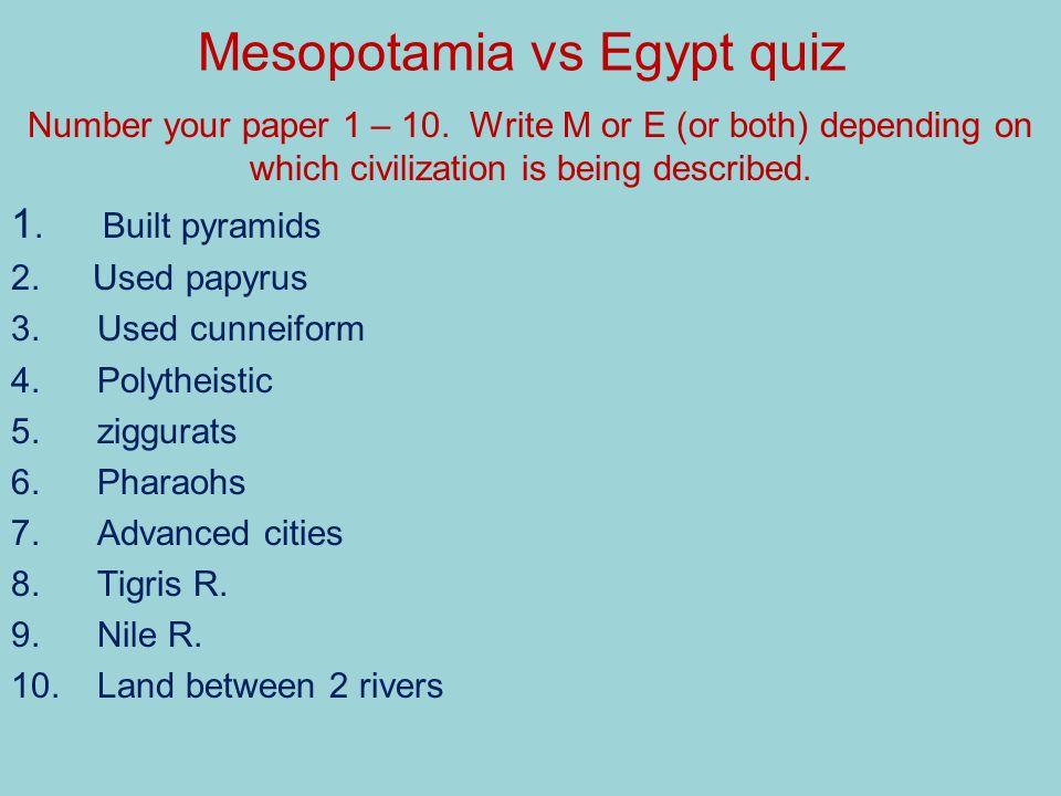 Mesopotamia vs Egypt quiz