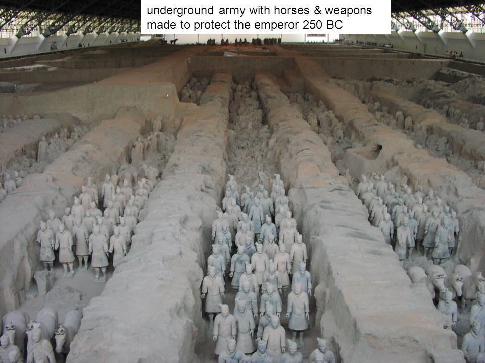 underground army with horses & weapons made to protect the emperor 250 BC