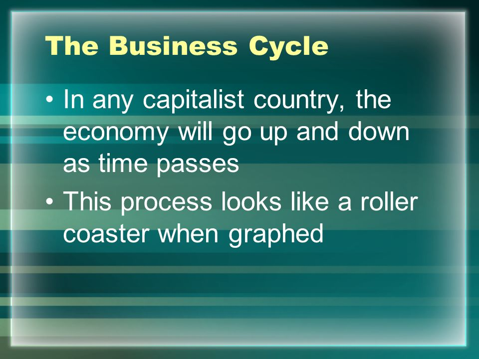 The Business Cycle In any capitalist country, the economy will go up and down as time passes.