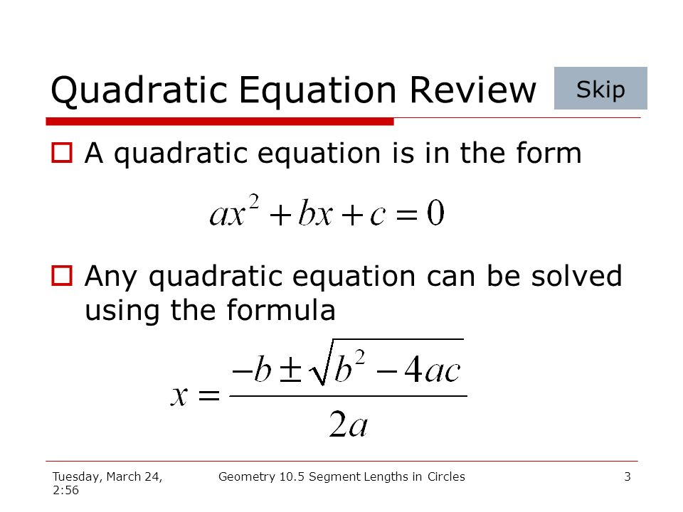 Quadratic Equation Review