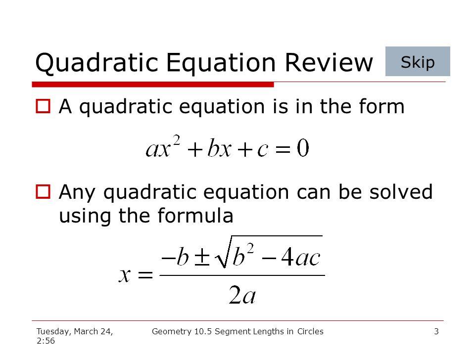 Quadratic Equation Review