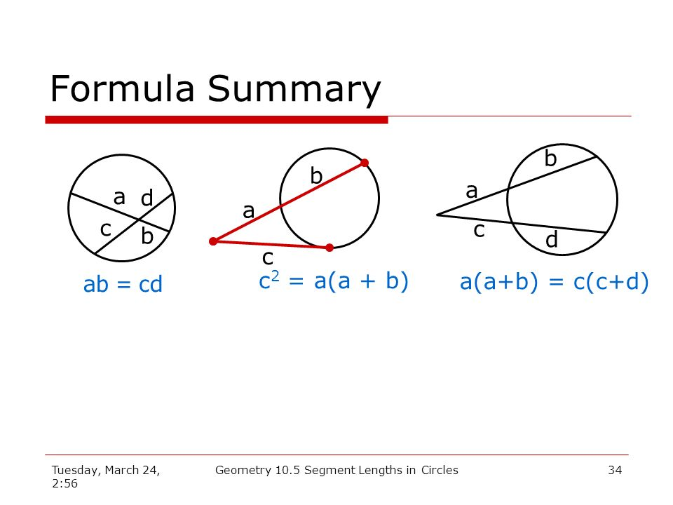 Geometry 10.5 Segment Lengths in Circles