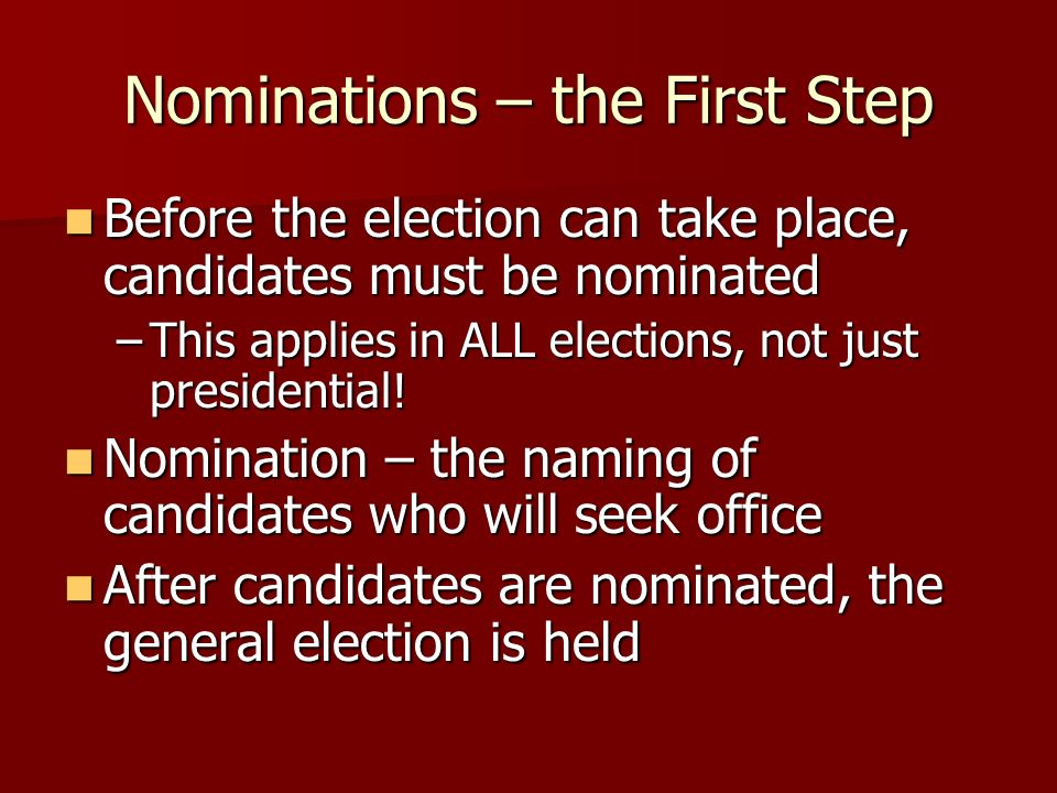 Nominations – the First Step
