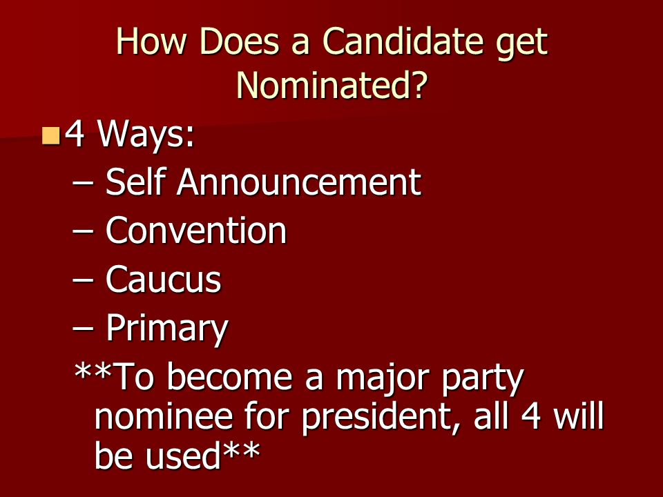 How Does a Candidate get Nominated
