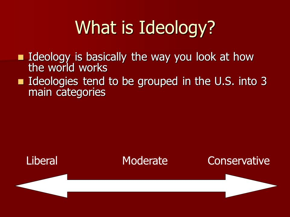 What is Ideology Ideology is basically the way you look at how the world works. Ideologies tend to be grouped in the U.S. into 3 main categories.