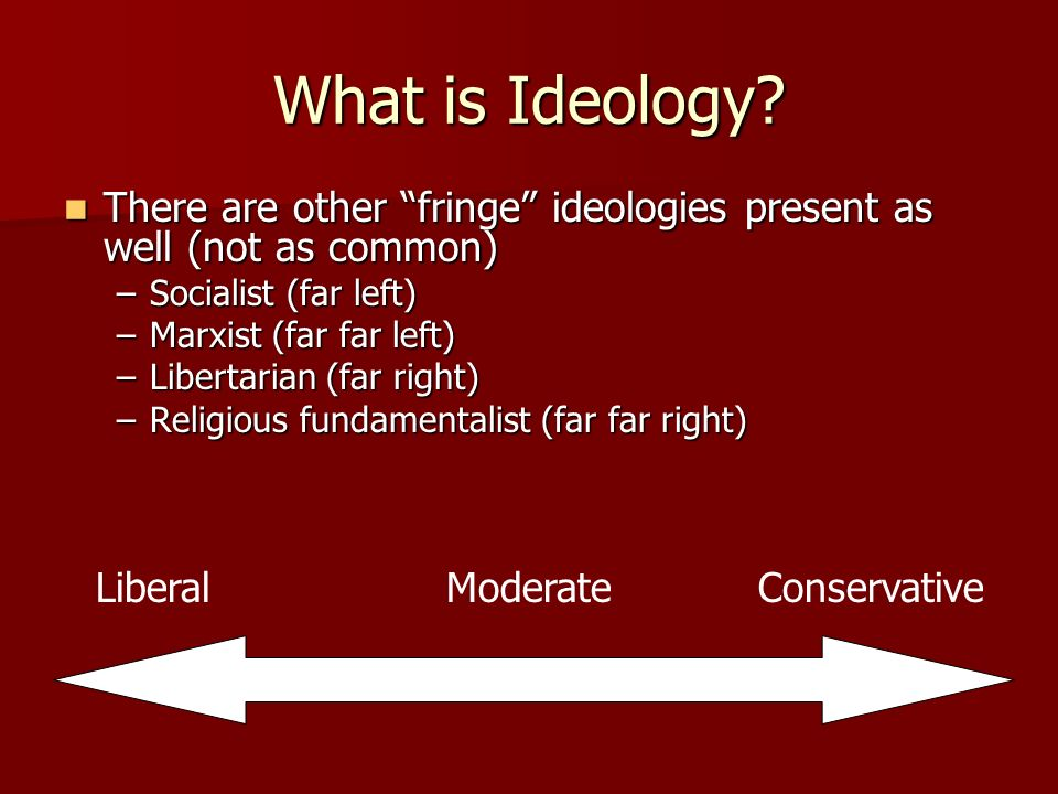 What is Ideology There are other fringe ideologies present as well (not as common) Socialist (far left)