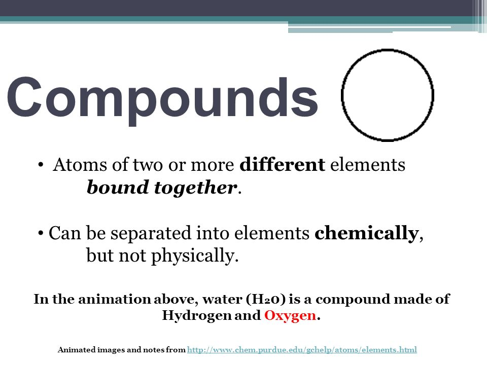 Compounds Atoms of two or more different elements bound together.