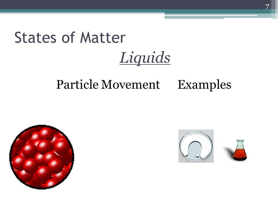 Liquids Particle Movement Examples