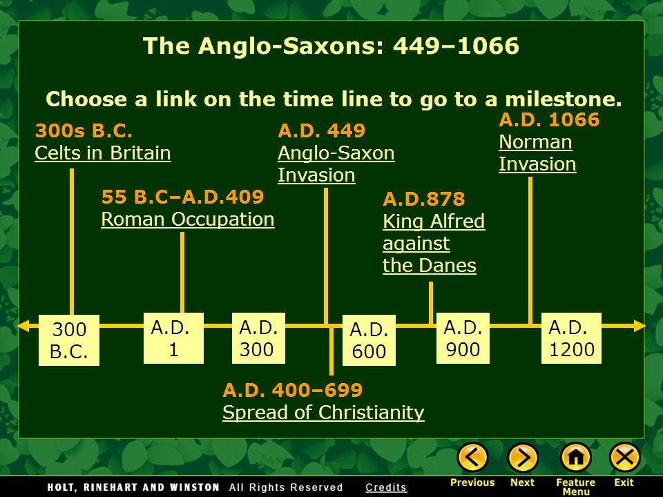 The Anglo-Saxons: 449–1066 Choose a link on the time line to go to a milestone. A.D. 1066. Norman Invasion.