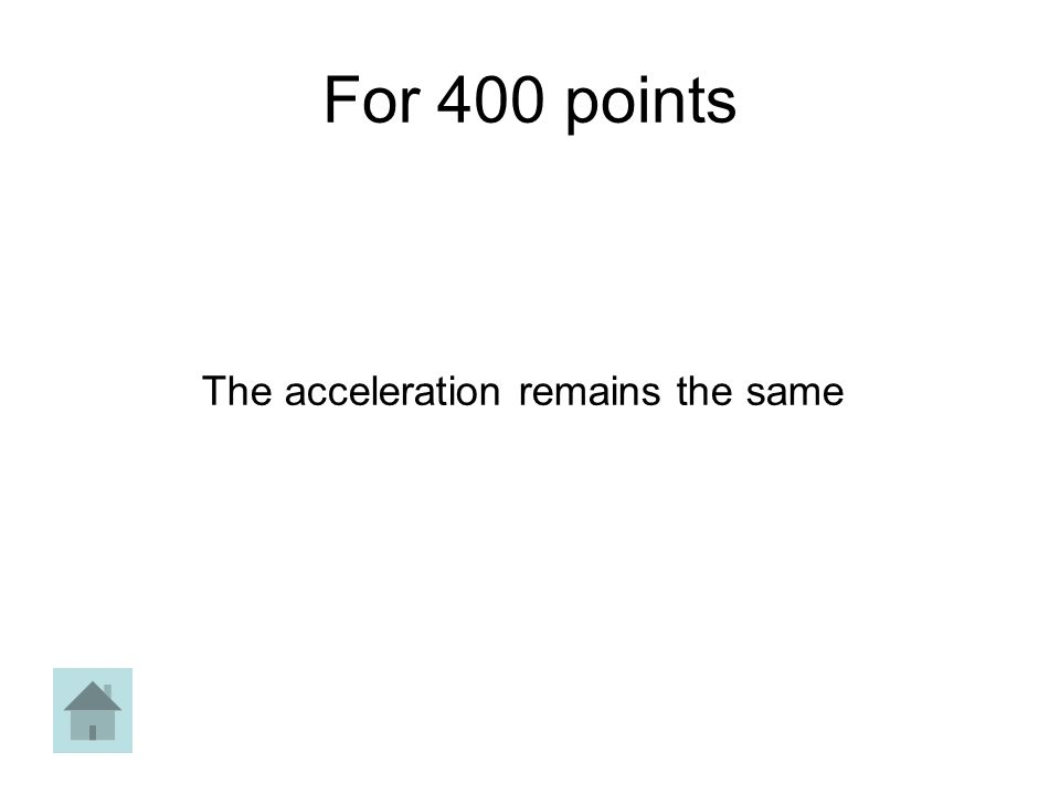 For 400 points The acceleration remains the same