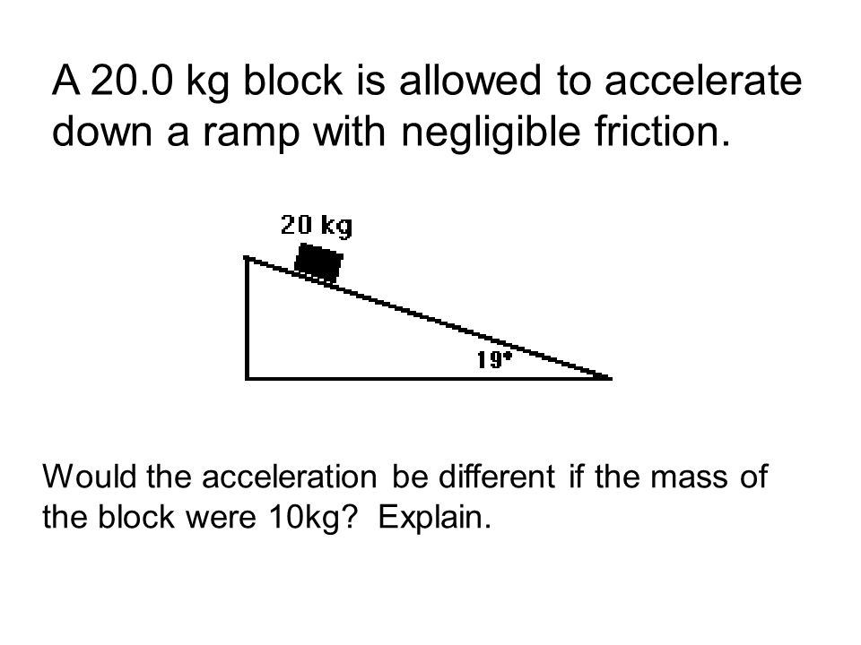 A 20.0 kg block is allowed to accelerate down a ramp with negligible friction.