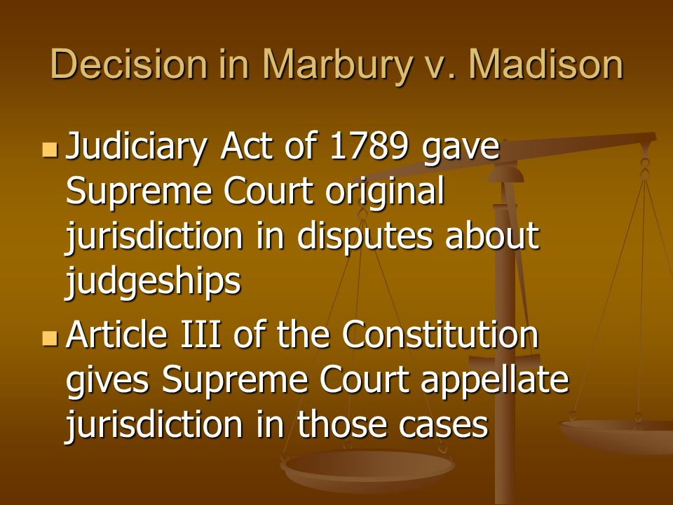 Decision in Marbury v. Madison