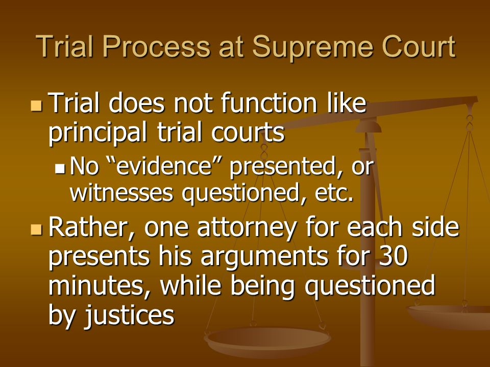Trial Process at Supreme Court