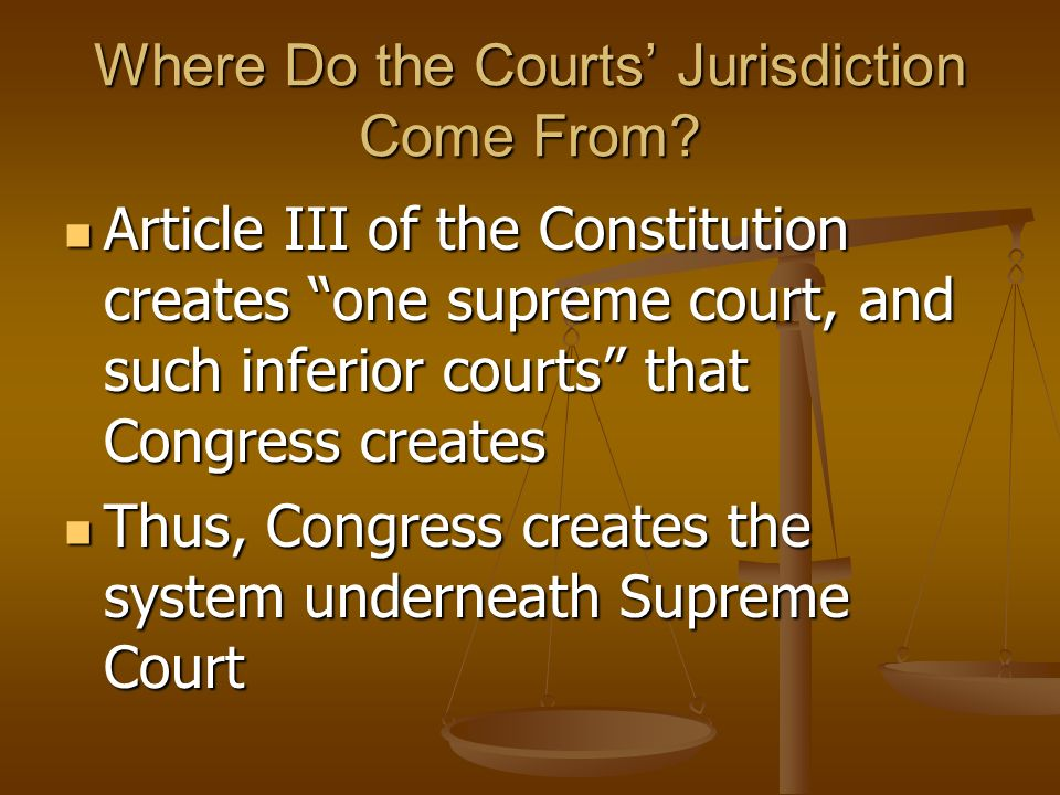 Where Do the Courts' Jurisdiction Come From