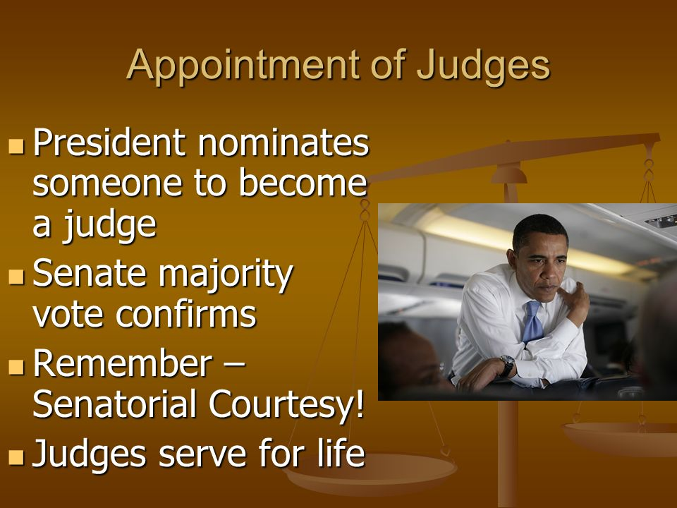 Appointment of Judges President nominates someone to become a judge