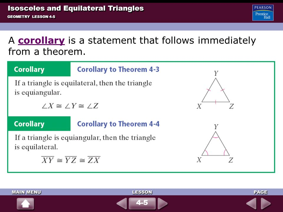A corollary is a statement that follows immediately from a theorem.