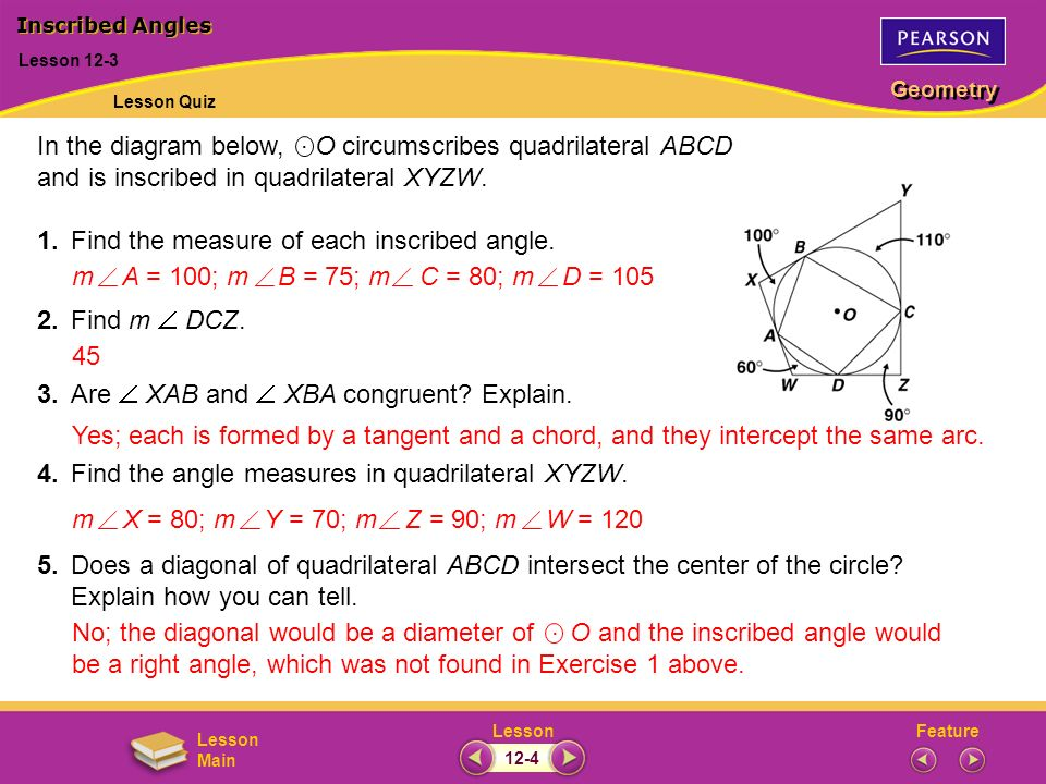 In the diagram below, O circumscribes quadrilateral ABCD