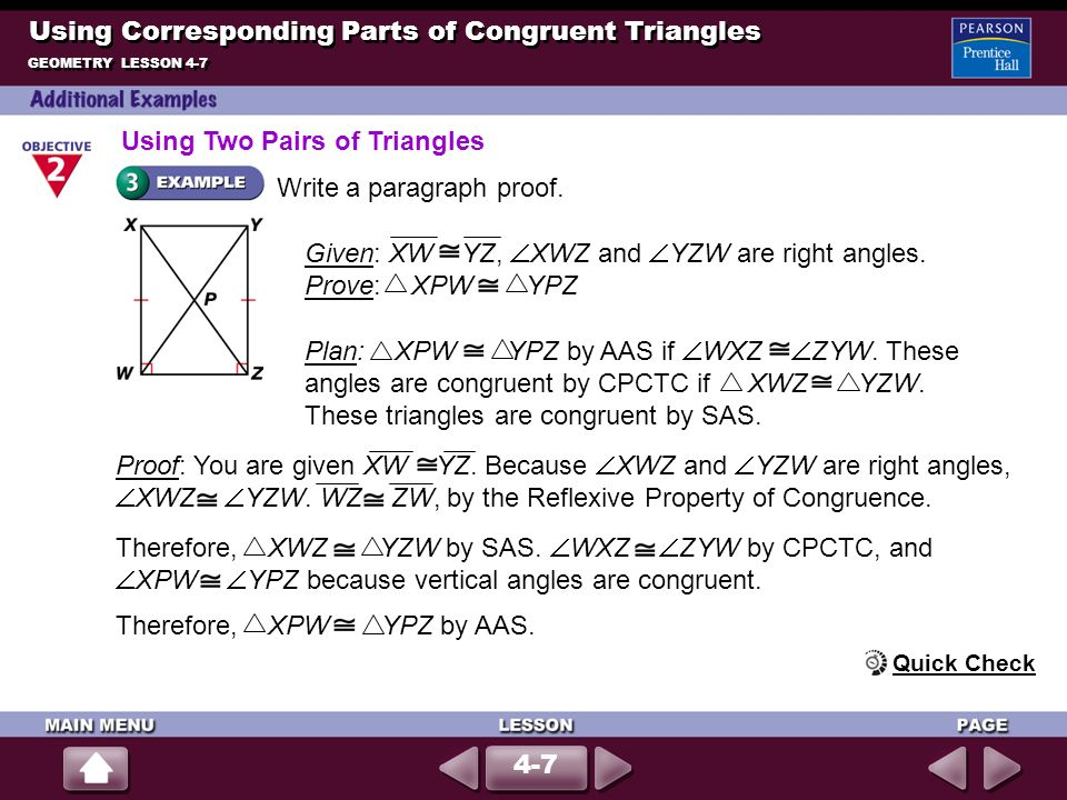 Using Corresponding Parts of Congruent Triangles